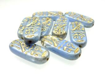 Hieroglyph glass beads 10pcs