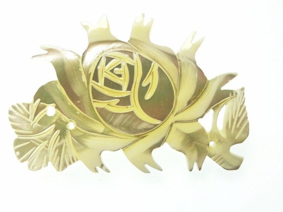 MOP rose pin WITH holes 1pc