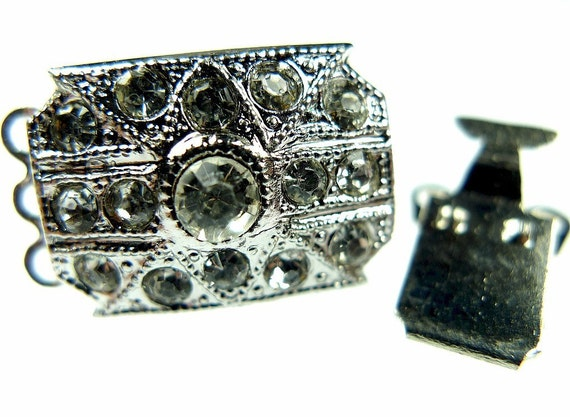 Rhinestone box clasp silver tone metal
