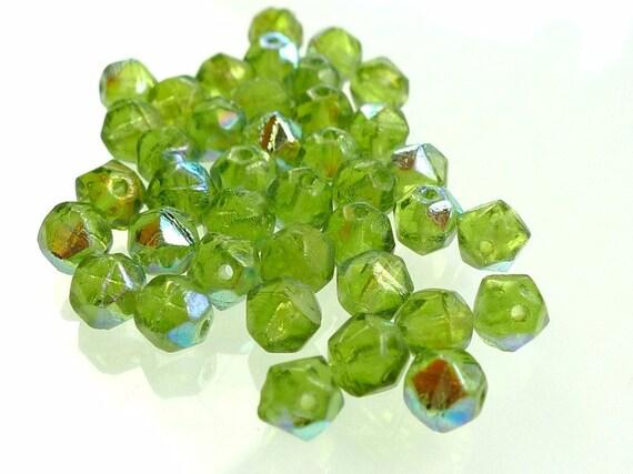 Rough cut glass beads moss green AB