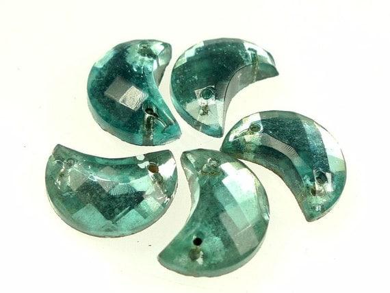 Glass sew ons aquamarine moon shaped