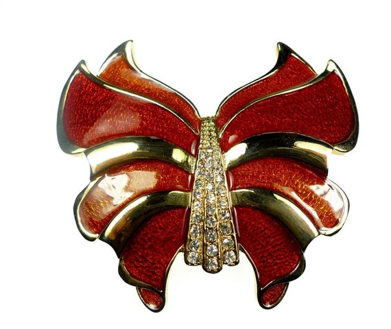 Belt buckles, vintage red enameled and rhinestone butterfly shaped
