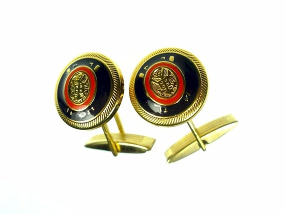 Cuff links, brass nautical theme red and dk blue enamel