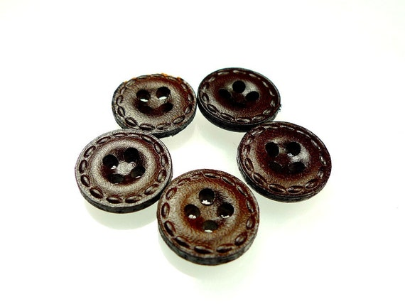 Buttons, leather brown four holes handmade
