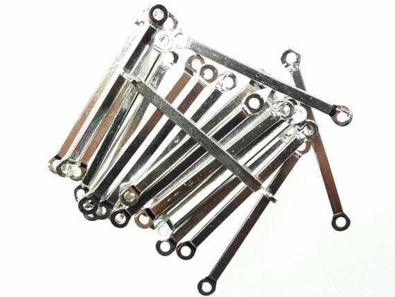 Metal bar connectors with loops silver tone 200pcs