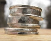 Hammered Metal Shiny Silver Tall Stack Ring