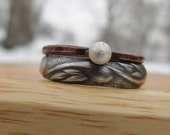 Silver Pattern & Rustic Copper Stacking Rings