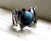 Labradorite Ring Unusual Silver Dark Ring