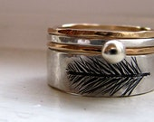 Feather Ring Wedding Band Set Etched Silver Stack Set