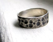 Argentium Silver Hammered Metal Dimple Ring