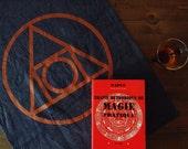 "Tea Towel ""Quintessence"", Hand-printed in Copper on Indigo Cotton Feed Sack Fabric"
