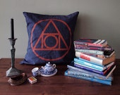 "21 inch Indigo ""Quintessence"" Throw Pillow Cover, Hand-printed in Copper on Blue"