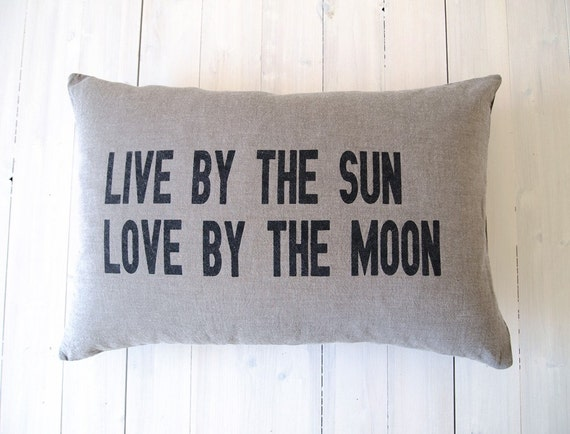 Pillow Cover : Live by the sun Love by the moon - Standard Bed Pillow Cover Small