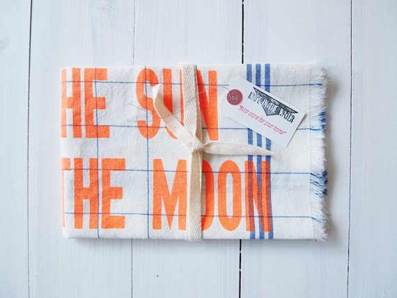 Tea Towel : Live by the sun Love by the moon -  Fluorescent Orange