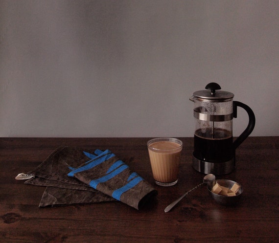 Log Brown Tea Towel - Hand Printed in Blue on Black walnut & Persimmon Natural Dyed Cotton