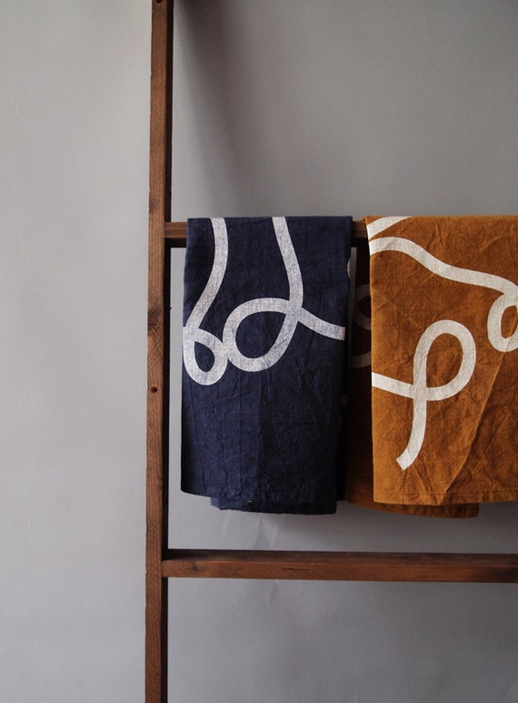 "Navy Blue ""Scribble"" tea towel, Screen-Printed on Natural Dyed Indigo Cotton Feedsack Fabric"