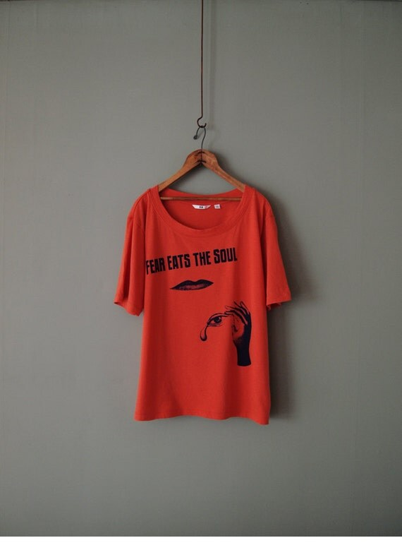 "Made to Order, Orange ""Fear Eats the Soul"" T-shirt, Screenprinted in Navy /  M L XL Only"