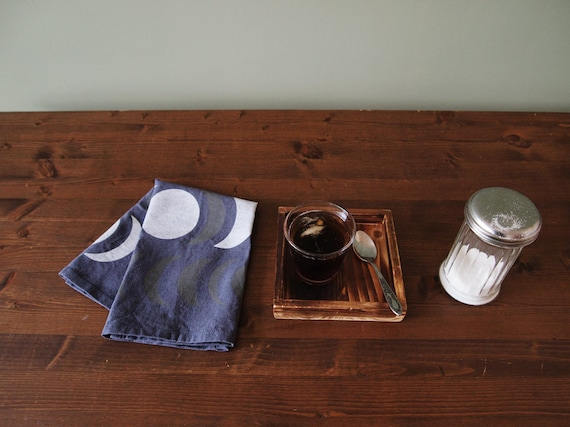 """18 inch  Hand-printed """"Nights"""" Table Napkin, White and Grey on Washed Blue"""
