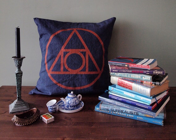 """21 inch Indigo """"Quintessence"""" Throw Pillow Cover, Hand-printed in Copper on Blue"""