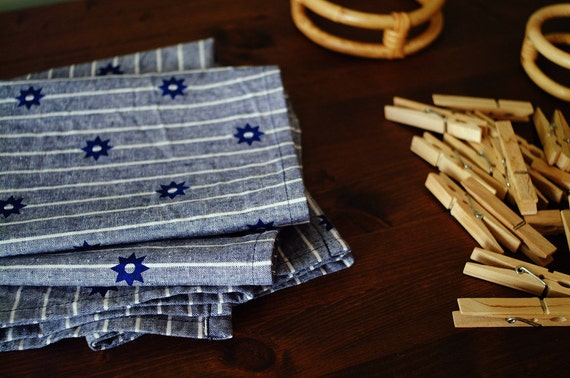 "Set of 2 Blue ""Etoile"" Hand-Printed Tea Towels - Navy on Blue and White Stripes"