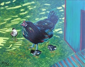 "Hen with Chicks in shade of chicken coop, sunlight streaming through trees - original acrylic painting 14"" x 11"""