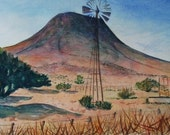 "West Texas Landscape of Windmill and Davis Mountains - Original Watercolor Painting, 16"" x 8"""