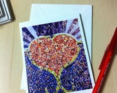 "Valentine's Day Card - 3 1/2"" x 4 1/2"" from original mixed media ""Open Heart"""