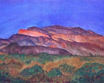 Texas landscape wall art, original watercolor