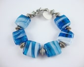 BLUE GLASS BRACELET with silver findings