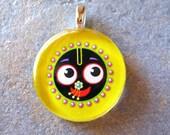 Krishna Pendant Necklace, Jaganath Art, Smooth Round Glass Tile