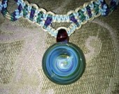 Thick colorful hemp necklace with woven diamond design and hand blown glass pendant with opal- hemp jewelry, gemstone, hippie, music fest
