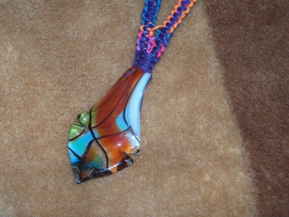 Rainbow macrame hemp necklace with multicolored glass pendant and wood beads, hemp jewelry, thick, bright, hippie, colorful