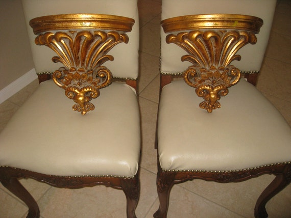 Wall Sconces Shelf : LARGE Pair Gold Wall SHELF SCONCES Sconce