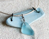 Reserved for Marie Christine - Light Blue Pastel Sea Glass and Sea Pottery Shard Necklace - Upcycled Beach Finds - Spring Jewelry