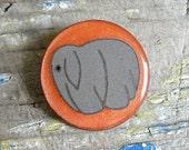Little Gray Elephant On Orange Brooch - 90s Vintage - Fun Animal Pin