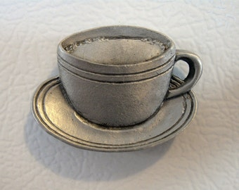 Pewter Coffee Cup Refrigerator Magnet