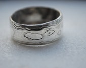Elegant sterling silver& nickel silver mokume gane ring wide band woodgrain etched