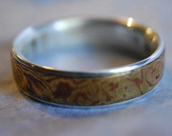 Brass/copper Mokume gane ring