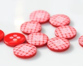 Red Gingham Buttons - Pack of 10