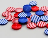 Nautical But Nice - 20  Red and Blue Stripy Buttons (12mm)