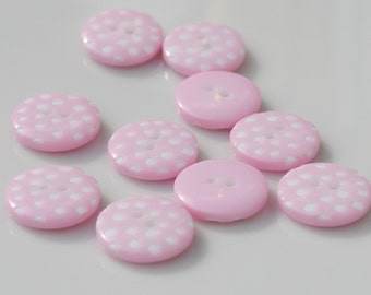Pale Pink Polka Dot Buttons - Pack of 10