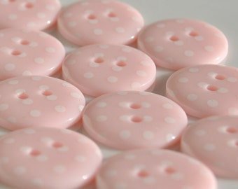 10 Pale Pink Spotty Buttons - Small - 15mm