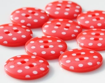 10 Red Spotty Buttons - Small - 15mm