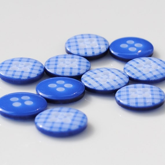 Royal Blue Gingham Buttons - 10 buttons (12mm)