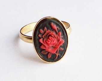 Red Rose Cameo Ring