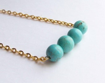 Turquoise Blue Howlite Beaded. Gold Necklace