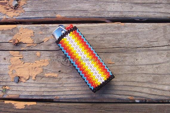 Native American Beaded Lighter Cover - SANTA FE SUNRISE