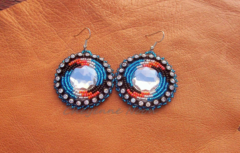 Native American Beaded Earrings Spiral Bling 2