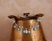Light Teal Blue Shell and Sterling Silver Bracelet