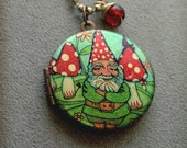 Locket pendant art necklace Handmade jewellery Garden Gnome Design and a glass charm